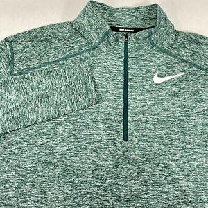 Nike Running Mens Size M Medium Green Dri-Fit Long Sleeve 1/4 Zip Shirt