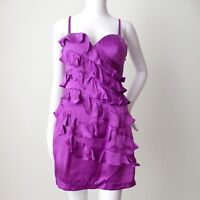 SEDUCE  rrp AU $239.95 Size 8 US 4  Purple Silk Ruffle Sheath Dress
