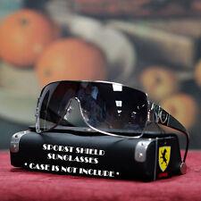 Men Stylish Khan Sports Shield Black Sunglasses Rimed Shades UV Silver Black