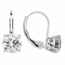 14K Solid White Gold Round Cut CZ Leverback Earrings (1.8 ctw), Gift Box