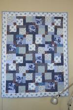 BABY BLUE FINISHED QUILT Handmade BEAUTIFUL!  Crib Size Bunnies Stars