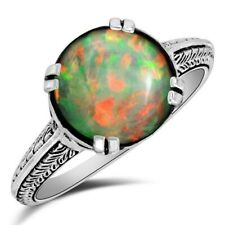 Natural 5CT Ethiopian Opal 925 Solid Sterling Silver Ring Jewelry Sz 8, PO24