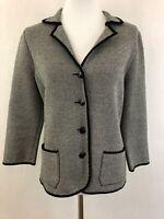 Talbots Womens Blazer Sz M Silk Cotton Blend Knit Jacket Black White L/S Pockets