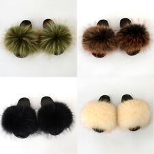Fur Slippers House Slides Open Toe Real Whole Skin Raccoon Large Size Slippers