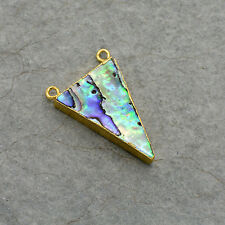 Triangle Abalone Pendant - 24K Gold Plated Gemstone Connector - Jewelry Supplies