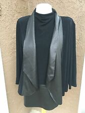 $179 2-pc SET Chico's Travelers Black Faux Leather Mock Tank Top Jacket 3 XL NWT