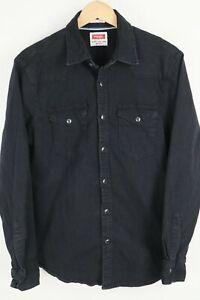 Wrangler Mens Sz Medium Black Flex For Comfort Pearl Snap Shirt
