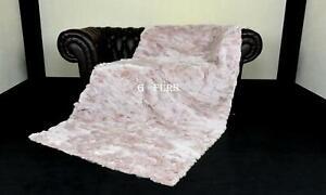 Luxury Real Dusty Pink Rex Rabbit Fur Throw Blanket