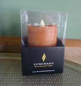 "NEW LUMINARA FLAMELESS REAL WAX CANDLE ORANGE 3 X 4.5"" #991844 Discontinued"