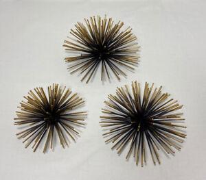 Curtis Jere Style Pom Pom Urchin Set of 3 Wall Decor Mid Century Modern