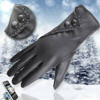 Fashion Womens Lady Soft Leather Gloves Winter Warm Mitten Xmas Gift Black Glove