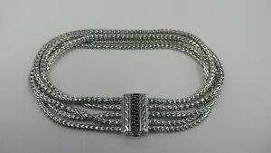 "JOHN HARDY Women's Silver 7.5"" Bracelet w/ Black Diamond Clasp - 925"