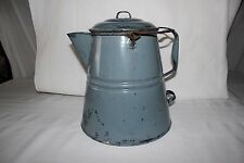 Antique Vintage EnamelWare Blue Large Cowboy Coffee Pot Kettle Enamel Camp