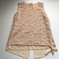 Adiva Floral Lace Knit Layered Sleeveless Blouse Pink  Sz S A1054