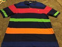 Men's Polo Ralph Lauren XLT Striped Shirt Blue Red Orange Green Short Sleeve