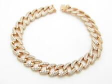 Rose Gold Sterling Silver White Sapphire Pave Link Tennis Bracelet 8.18mm Wide