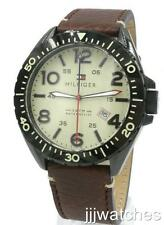 New Tommy Hilfiger Men Black IP Brown Leather Date Watch 46mm 1791133 $135
