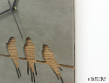Concrete and Wood Wire Tailed Swallow Wall Clock - Modern Wall Clock