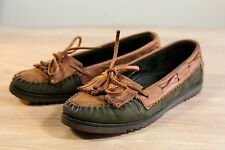 Maine Woods Size 5 Brown Green Womens Moccasins Vintage