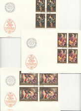 Liechtenstein 1976  Peter Paul Rubens Dipinti 3 VALORI IN QUARTINA SU BUSTE FDC