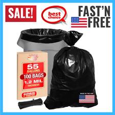 "Heavy Duty Black Trash Bags 55 Gallon Black Bags For Garbage Storage 35""Wx55""H"