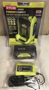 RYOBI RYi300BG 300W 40V Battery Inverter Generator with 4.0Ah Battery & Charger
