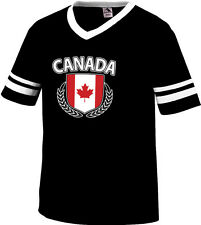 Canada Shield Crest Coat Of Arms Country Canadian Born Men's V-Neck Ringer Tee