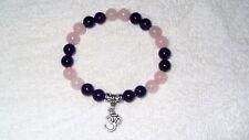 Purple Pink Jade Beads Stretch Ohm Yoga Soothing Purirty Charm Bracelet Jewelry