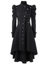 Gothic Vintage Womens Steampunk Victorian Swallow Tail Long Trench Coat Jacket