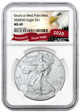 2020(W) 1 oz Silver American Eagle Struck West Point Mint Ngc Ms69 Eagle Label