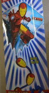 """NW IRONMAN 25"""" Wide NYLON Diamond Kite XKites Ages 8+ Fiberglass 2007 BLUE TAIL"""