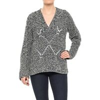 Woolrich Lambswool Blend V-Neck Sweater Women Pullover Chunky Knit Black  M