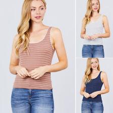 S M L Women's Basic Striped Sleeveless Stretch Tank Top Lace Trim Scoop Neck