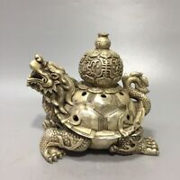 Marked China Dynasty tibet Silver Dragon Turtle statue royal Incense Burner Pot