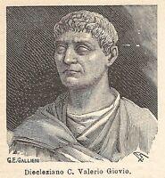 A7869 Diocleziano - Xilografia - Stampa Antica del 1925 - Engraving