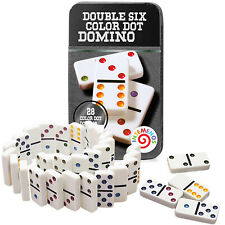 Dominoes Set 28 Double Six White Ivory Tiles. Classic Number Domino. Metal Case
