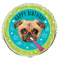 """Pug Puppy Happy Birthday 18"""" Foil Balloon Childrens Party Table Decorations New"""