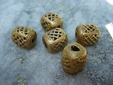 5 Perlen Messing Ghana Ashanti, 18 x 15 mm Quader Wachsausschmelzverfahren