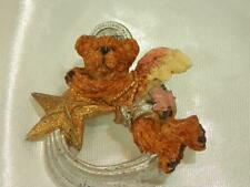 Teddy Bear Shooting Star Brooch 907Jl9 Sooo Cute Vintage 1980's Resin Angel
