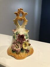 Vintage Pearlescent Ceramic Floral Bell 5� Tall Pr-1A