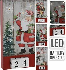Large Light Up Hanging Countdown to Christmas Perpetual Wooden Advent Calendar