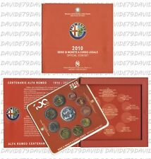 SERIE DIVISIONALE EURO MONETE ITALIA 2010  10 VALORI 5 EURO D'ARGENTO ALFA ROMEO