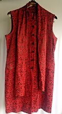 Hip16 SCARLETT stylish extra long top w Scarf Oriental Style Red Floral Pattern