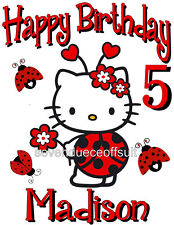 NEW PERSONALIZED CUSTOM HELLO KITTY LADYBUG BIRTHDAY T SHIRT ADD NAME AND AGE