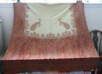"""Antique c1860 Kashmir Woven Partial Shawl Fabric~Beautiful Colors~L-58"""" X W-57"""""""