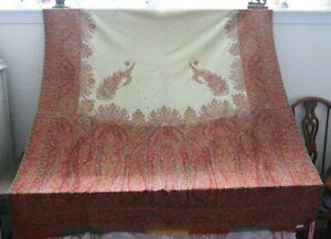 "Antique c1860 Wool Kashmir Woven Partial Shawl Fabric~Beautiful Colors~58""X57"""