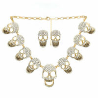 Gothic Vintage Retro Punk Skull Necklace and Earring set Halloween(Gold)