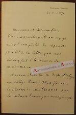 L.A.S 1892 Edouard HERVE Montaigu Vendée Collège Henri IV de Quatrefages lettre