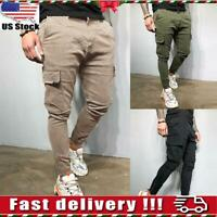 USA Mens Slim Fit Cargo Pants Skinny Sweatpants Combat Trousers Bottoms Joggers