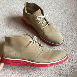 Cole Haan Lunargrand Suede Chukka boots tan and red mens size 8.5
